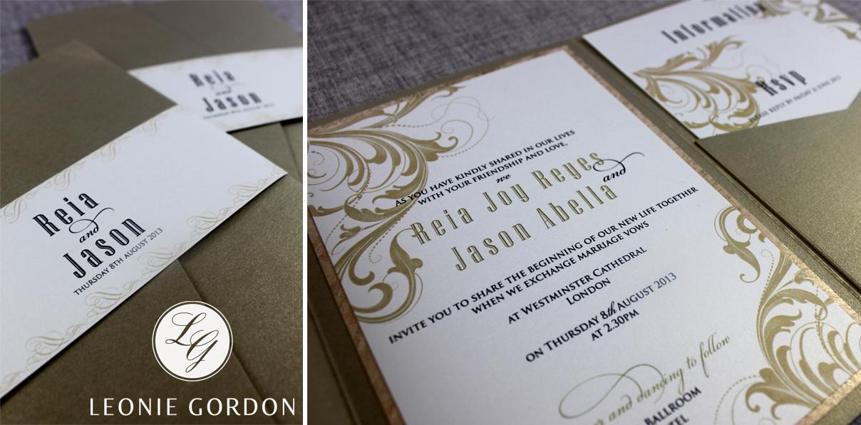 Leonie Gordon London Luxury Wedding Invitation Bespoke Gold Pocketfold Belly Band