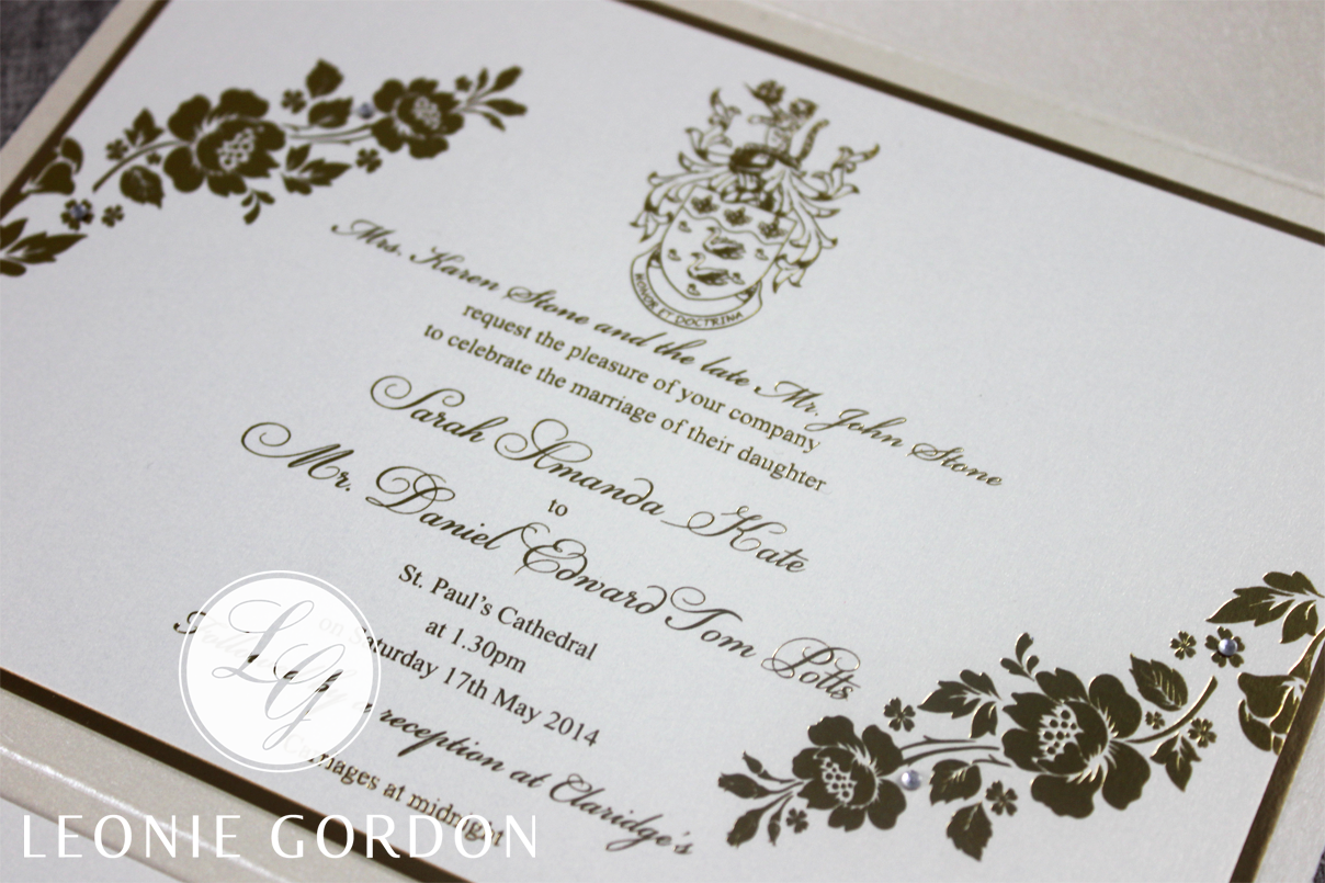 Leonie Gordon London Luxury Wedding Invitation Bespoke Gold Foil Diamante Ivory Pocketfold