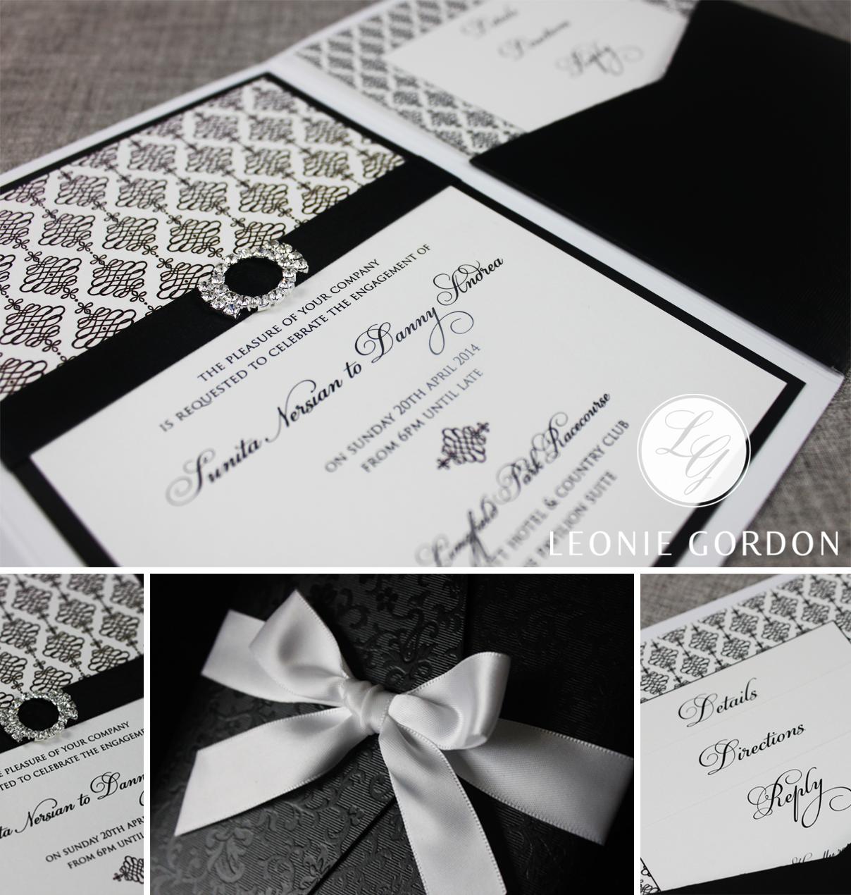 Leonie Gordon London Luxury Wedding Invitation Bespoke Black Pocketfold Ribbon Diamante