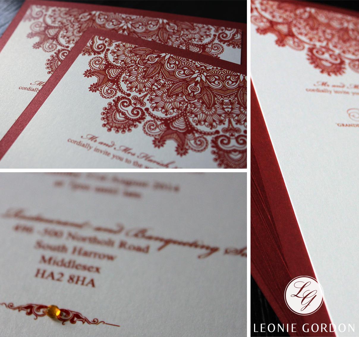 Leonie Gordon London Luxury Wedding Invitation Red Indian Pattern